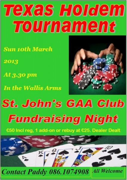 2013-03-10 St.John's GAA Club - Texas Holdem Tournament - poster