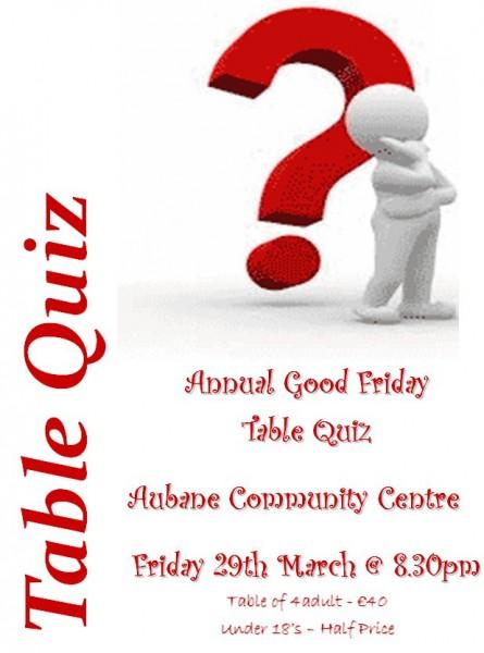 2013-03-29 Aubane Table Quiz - poster