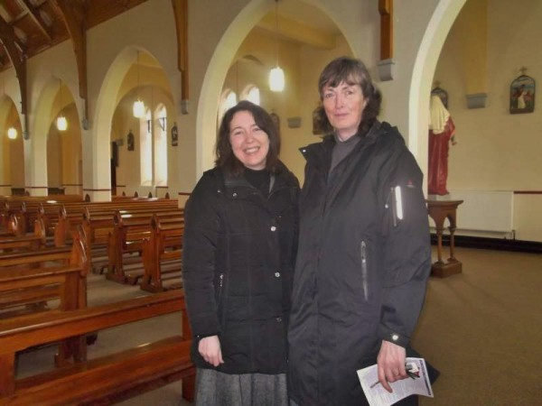 Orla Duke from Trócaire with Maura Linehan (nee O'Mahony) at Ballydaly Church this morning.   Below Mary and Pat Bucke at the MS Collection in Ballydaly also today while members of the Kelleher Family supporting the Irish Heart Foundation cause in Millstreet last night.   (S.R.)