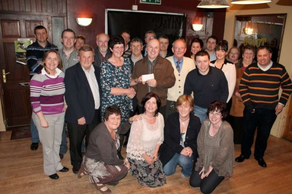"The presentation of the superb cheque of €16,500.00 to Martin Walsh, Chairman, Kerry Parents and Friends, took place at ""The Star Bar"", Rathmore on Saturday night, 23rd March 2013.   The very impressive amount, presented by Val Moynihan, Chairman, Marian Players, Rathmore was the result of this year's wonderful production of the ""Aladdin"" Pantomime.   Sincere congratulations to All on such great success in aid of such a praiseworthy cause.  (S.R.)"