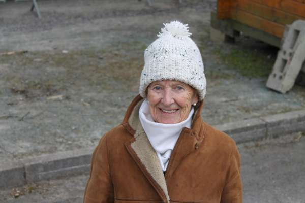 Maureen Falvey dressed for the fresh weather at the Show.