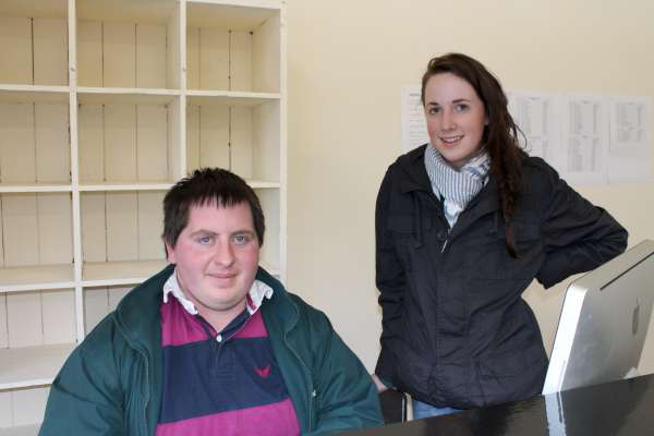 Communications Co-ordinator, Tadhg Ryan and Maura Buckley who is assisting in the Show Office.  (S.R.)