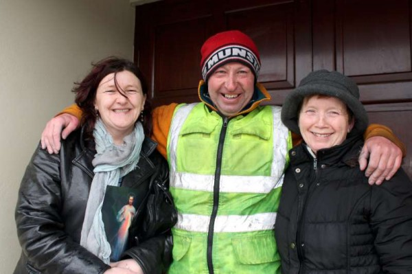This is the tremendously fit 49 year old Patrick O'Brien from Drimoleague pictured here with (from left) Sheila Lucey and Mary P. O'Leary of Carriganima.   Patrick cycled over 44 miles from near Drimoleague in West Cork to Millstreet to participate in the annual Clara Hill Run which took place on Sunday evening at 7pm.  Having successfully running the challenging race in such inclement weather conditions he set out on his return journey to Drimoleague following refreshments and prize-giving in Millstreet G.A.A. Community Hall.  What a truly amazing feat by the superbly fit cyclist and athlete.   (S.R.)