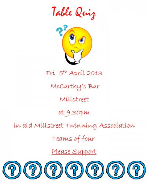 2013-04-05 Twinning Table Quiz - poster