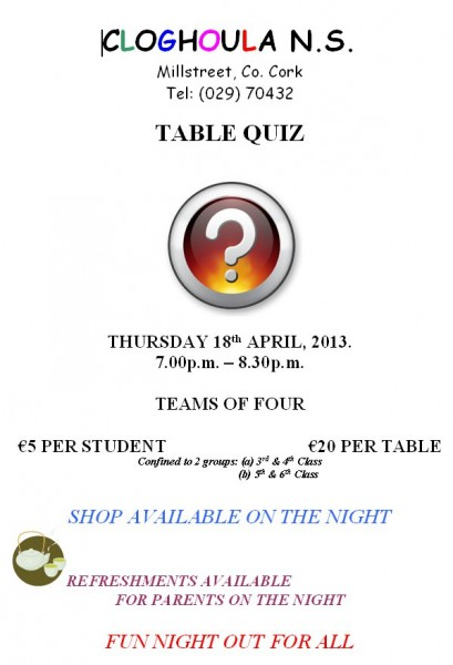 2013-04-18 Cloghoula NS table quiz - poster