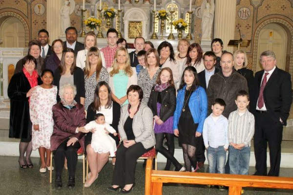 With the kind permission of the Family we share the group photograph of the wonderful ceremony of Baptism today at St. Patrick's Church, Millstreet of Naoise, beautiful daughter of Raj and Gillian (nee O'Sullivan of Dooneen).   Gillian, Raj and Naoise reside in Chester, England.   Every blessing and happiness to the New Little Arrival.  (S.R.)