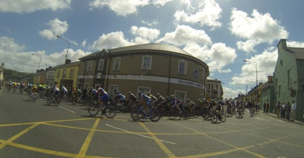 2013-05-23 FBD Rás rounding the Credit Union in the Square Millstreet at lunchtime today - photo Hannelie O'Connor
