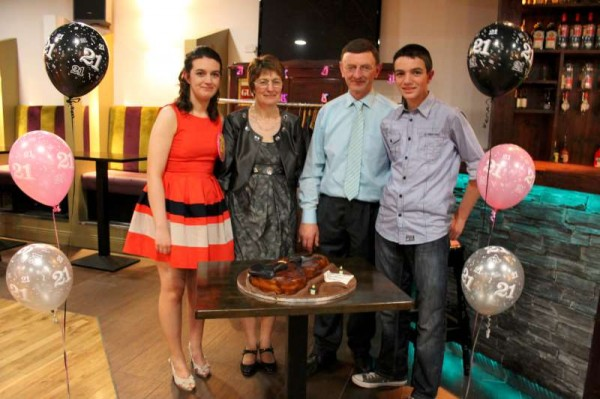 Miriam O'Sullivan celebrated her 21st Birthday in the company of her Family (pictured here) and her many Friends at the Wallis Arms Hotel on Saturday, 25th May 2013.  The magnificent birthday cake was in the shape of a violin.   Happy Birthday, Miriam from everyone.  (S.R.)