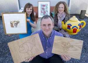 "2012 Greenshoots - James Hickey of ""Carving Mad Woodcrafts"", along with Siobhan Duggan Artist (L) and Catherine Costello, Programme Manager (R)"