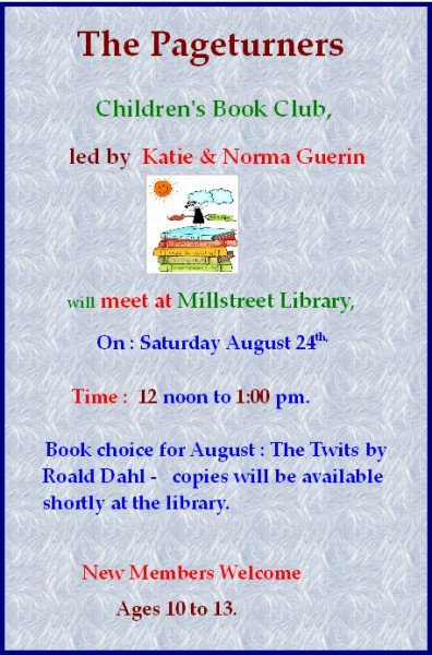 2013-08-24 Pageturners Childrens Book Club - the twits - poster