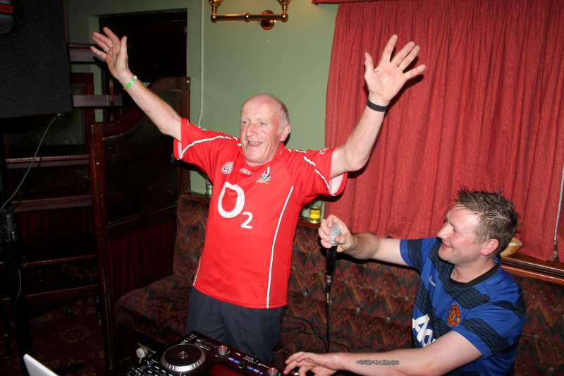 Donie Hickey expresses his delight as DJ Mark provides the microphone