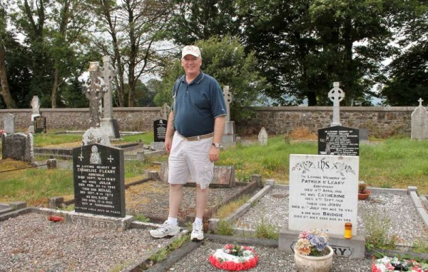 Patrick O'Leary of Louisville, Kentucky, USA pictured at Drishane Cemetery on Sunday as he successfully traced his Adrivale (Millstreet) roots.  I recorded Patrick's impressive description of his excellent research.   He was delighted to have visited Millstreet as part of an overall Irish tour.  He truly felt very much at home here during his brief visit.   He has worked in the past in the American Presidential Helicopter Squadron -  definitely a highly prestigious role.  He expressed sincere thanks also to Mary (nee O'Leary, Minor Row, Millstreet) Gleeson who lives in Wicklow for her very kind and much appreciated assistance in his roots research.  (S.R.)
