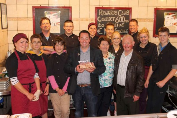 Celebrity Chef Neven joins the wonderfully dedicated Staff of O'Leary Family Craft Butchers at The Square, Millstreet on Thursday, 15th August 2013.  (S.R.)