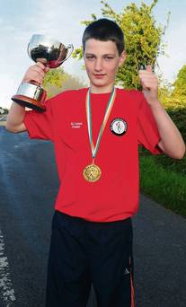 2013-08-08 Darragh Kiely - national U12 Road Bowling champion