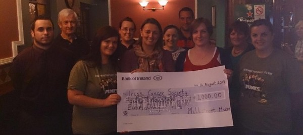 2013-08-24 Millstreet Macra present €4000 fundraising from their recent 'Shave or Dye' to the Irish Cancer Society