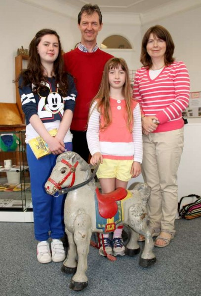 "We were delighted to welcome the Buckley Family from Ennis to our Museum during this past week.   Seán (originally from Kilcorney) is grandson of the gentleman who first established Kilcorney Feis in 1910.    The Family are pictured here with the very historic ""Mobo"" toy horse of the 1950s which was presented a number of years ago to the Museum by Maurice Walsh of Ickenham near London who came originally from Dooneen near Millstreet Railway Station.   Our Museum Church Gate Collection  takes place this evening and tomorrow in Millstreet.  (S.R.)"
