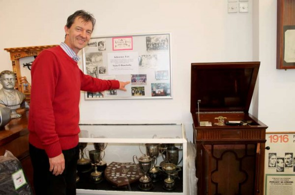 Seán Buckley beside the unfinished Museum feature on the History of Kilcorney Feis