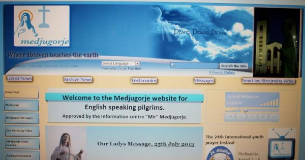 Thanks to Breeda from Co. Kerry we have been alerted to an excellent website www.mir.ie which allows one to watch the daily services live in Medjugorje .   Many local people have gone on pilgrimage to this magnificent Marian Shrine and have attended many of these special ceremonies while there.  (S.R.)