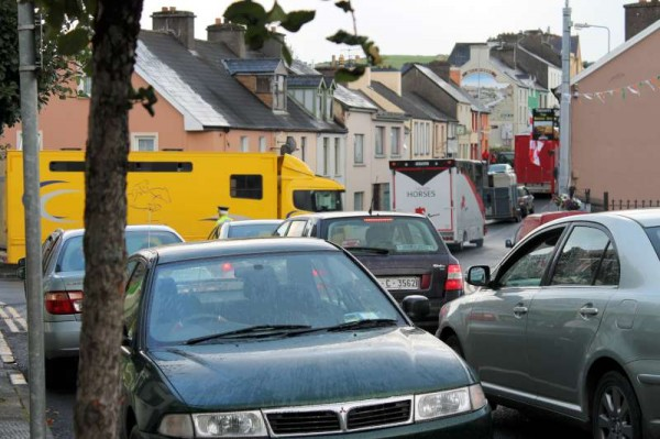 Millstreet International Show town traffic on Sunday evening, 18th August 2013