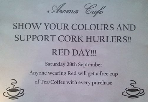 2013-09-13 Aroma Café - Free Coffee if you wear red to support Cork