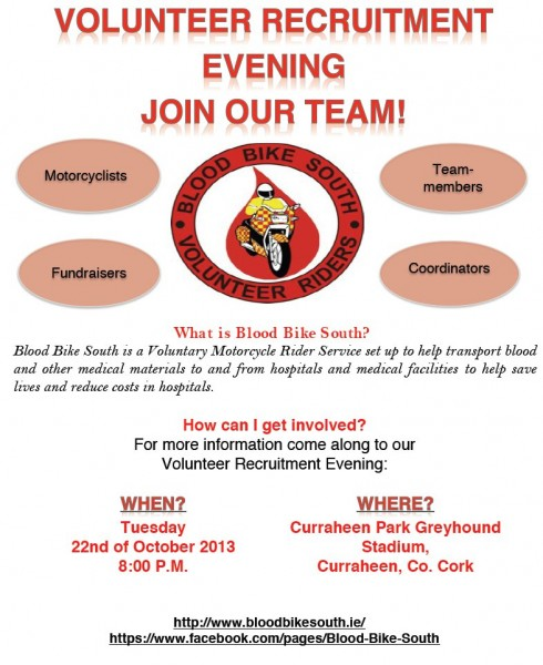 2013-09-20 Blood Bike South - Volunteer Riders - Recruitment Evening - poster