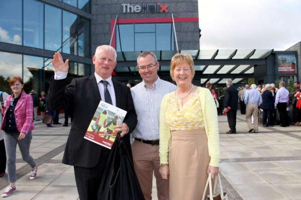Representing Millstreet Tidy Towns Association at today's national awards at the Helix Theatre, Dublin - From left: Denis Hickey, Derry Sheehan (Chairman, Millstreet T.T.A.) and Noreen Dennehy.  My role was to record the wonderfully uplifting event at which Millstreet received a further Bronze medal, gained one extra mark which is now at 296 (20 marks behind Moynalty, Co. Meath which Ireland's Tidiest Town 2013).  We also got to meet with members of Killarney T.T.A. (Winner) and we note that we are first in our category in Cork (North).