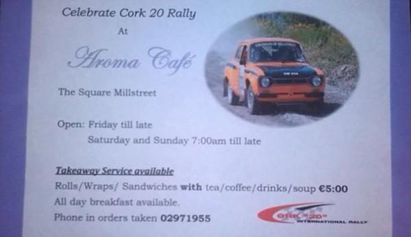 2013-10-03 Aroma Café - specials for the Cork 20 Rally