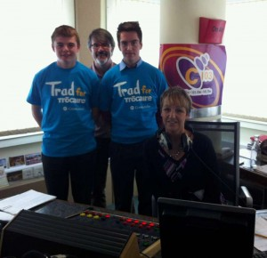 2013-10-03 Darren Kiely, John Magee, and James Linehan with Patricia Messenger at the C103 Studios