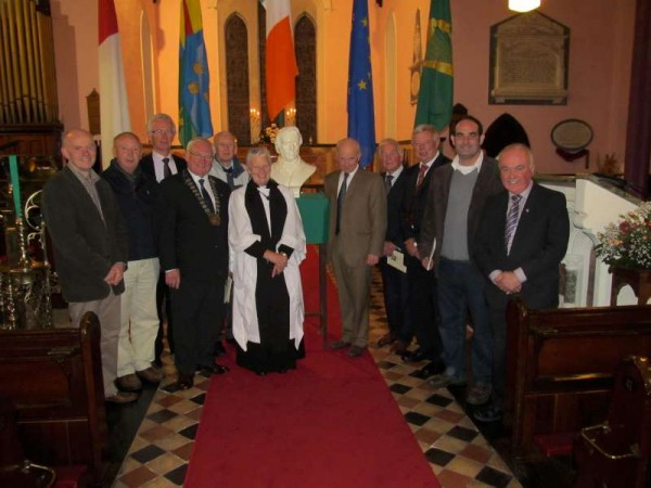 Pictured at St. James' Church, Mallow for the annual Thomas Davis Commemoration on Friday evening, 11th Oct. 2013.   The Commemoration Lecture was delivered by Prof. Vincent Comerford of NUI Maynooth (on right of Thomas Davis bust).   The service was conducted by Canon Eithne Lynch.   Thomas Davis Pipe Band was also in attendance.  Click on the image to enlarge.   (S.R.)