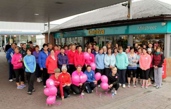 """There was a magnificent response on Sunday for the Centra """"Walk This Way"""" sponsored walk in aid of Irish Cancer Society Breast Cancer Action.   Beginning at Herlihy's Centra in West End the walk arrived at Coleman's Centra by 11.00 a.m. and from there proceeded to Coole Cross, Killowen and Priest's Cross.   Arriving back in Millstreet very welcome delicious refreshments  were kindly provided.  Click on the images to enlarge.  (S.R.)"""
