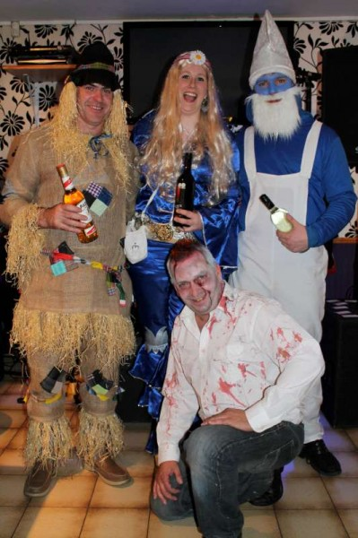 With Liam Cantillon providing superb music at The Pub in Carriganima on Sunday night the annual Halloween Fancy Dress Event attracted many excellent entries.  Here we view the winners (Declan, Lavinia and Ryan) with coordinator Seán Murphy in front.  Lots more pictures later.  Click on the image to enlarge.  (S.R.)