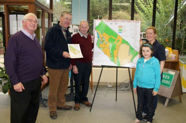 On Sunday Bishopstown Orienteering Club visited Millstreet Country Park where the new impressive Orienteering Trails in MCP were launched.  The maps, details and guidelines are demonstrated here by dedicated enthusiasts.  Click on the image to enlarge.  (S.R.)