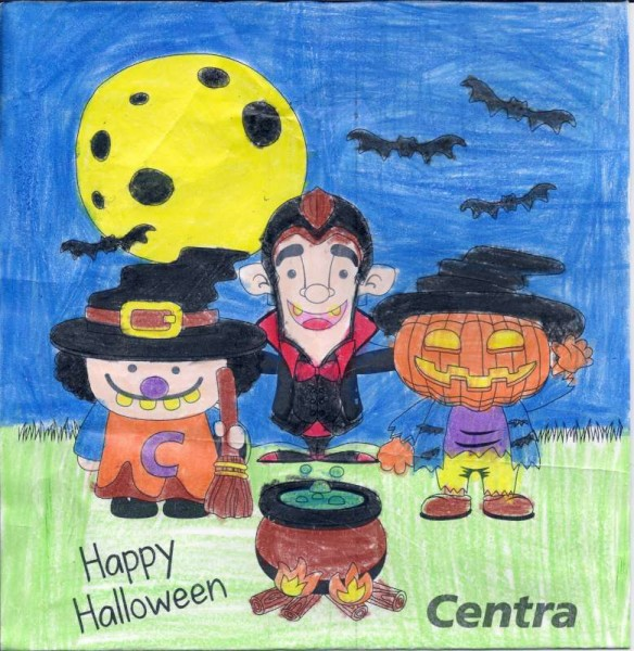 This is the superb winning entry in the Colouring Competition relating to Herlihy's Centra Halloween occasion.   The wonderfully talented Winner is Rebecca O'Sullivan, Rathduane, Rathmore in the parish of Millstreet.   Rebecca was in the 6 -8 year old category.  Click on the image to enlarge.  (S.R.)