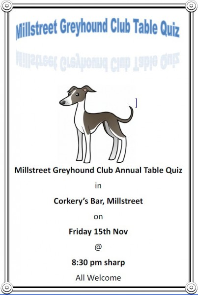 2013-11-06 Millstreet Greyhound Club Table Quiz - poster
