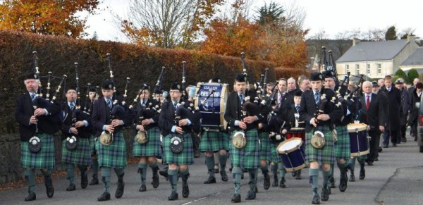 2013-11-17 Cullen Pipe Band lead out the Sean Moylan Commemoration in Kiskeam