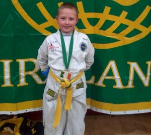 2013-11-24 Joshua O'Sullivan, Ballydaly pictured with his gold medal for sparring at the Irish Open Taekwondo Championships-800