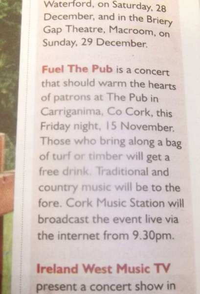 "Special reference in this week's ""Farmers Journal"" thanks to Journalist, Michael Commins about tonight event in ""The Pub"" at Carriganima.   Click on image to enlarge.  (S.R.)"