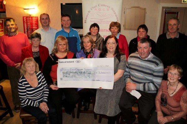 A most impressive cheque of €3,500.00 was officially presented to members of Reach Out Cancer Support at a special function in the Wallis Arms Hotel on Sunday night.   Those who spoke included Martina Sheehan for Aubane Social Club who organised the very successful Halloween Fancy Dress event.  Billy Sheahan of the Wallis Arms also addressed the gathering - It was Billy and Ellen who kindly made the Wallis Arms available for the fundraising occasion.   Michelle O'Keeffe and Mairéad Daly expressed sincere thanks on behalf of R.O.C.S..  Highlights of the event will feature on LTV2 during its new season.  Click on the images to enlarge.  (S.R.)