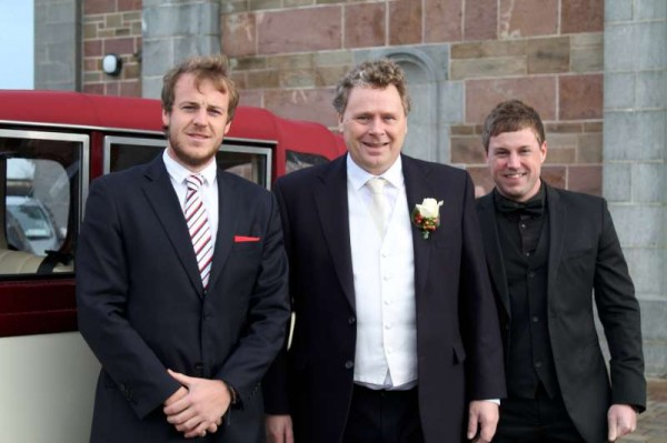 Pictured with father of the groom, Tom Murphy (centre) are his two nephews- Seán (on left) and Daniel who travelled from Australia for the marvellously festive Wedding.