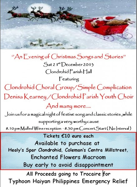 2013-12-21 Clondrohid Choral Group - Evening of Christmas Song and Stories - poster