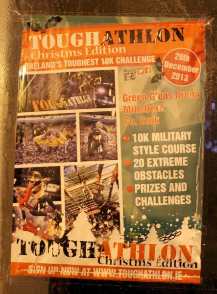 This is a poster which I photographed in Killarney Town over the Christmas which promotes today's Toughathlon event in Green Glens and at Drishane.   Click on the poster to enlarge.  (S.R.)