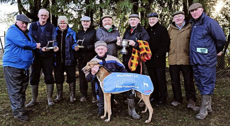2014-01-04 Millstreet Coursing Club celebrated their 100th meeting this year . The Game Protection Cup is run for residents of Cork County and was won by Glanmore Ronnie-800