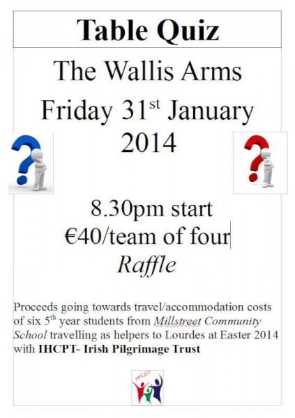 2014-01-14 Millstreet Community School IHCP Table Quiz - poster