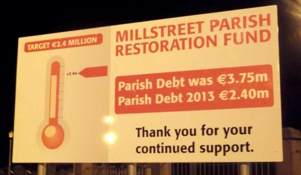 An update on the Millstreet Parish Restoration Fund in the new display which is located in the Church Grounds.   Click on image to enlarge.  (S.R.)