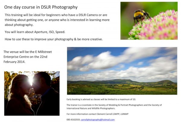 2014-10-12 One Day Photography Course with Clement Carroll - poster