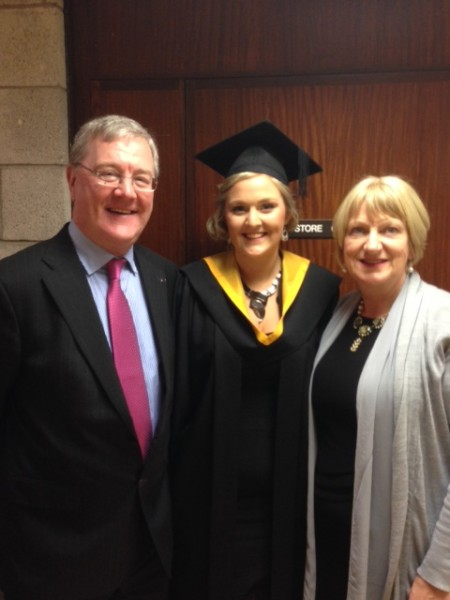 Fiona Howard past pupil of Kilcorney National School graduated in General Nursing at the University of Limerick this week. Pictured with her parents Donie and Mary.