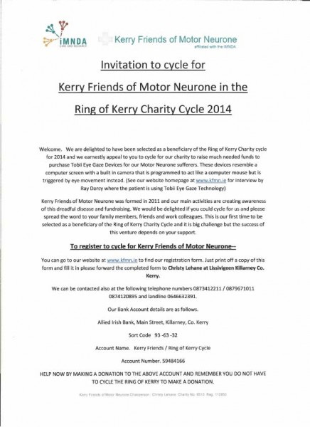 Motor Neurone Invitation to Cycle 2014