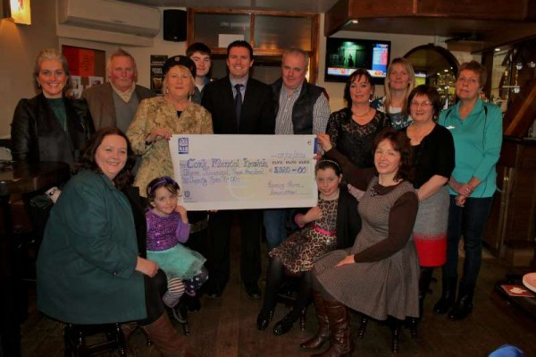 Following a most successful Boeing New Year Swim 2014 a hugely impressive cheque of €3,920.00 was presented to Brendan McCarthy (pictured at centre behind cheque), Development Manager, Cork Mental Health Foundation