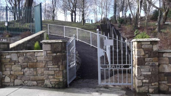 The superb new railing recently put in place at the Station Road entrance to Millstreet Town Park near the new William Neenan Gate.