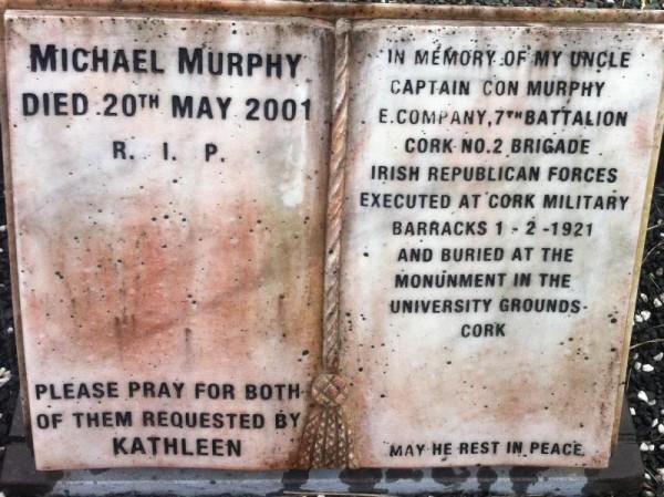 2014 Memorial Plaque to Captain Con Murphy in Drishane Cemetery_